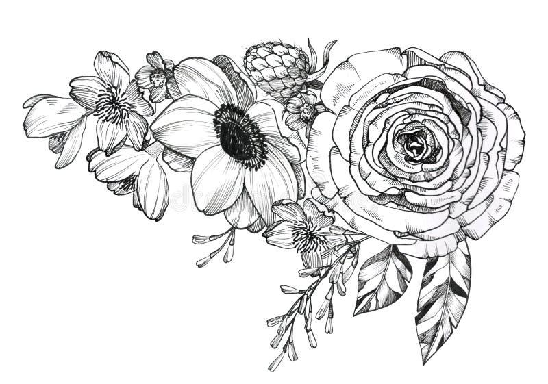 Mazzo disegnato a mano del tatuaggio nero dell'inchiostro fotografia stock
