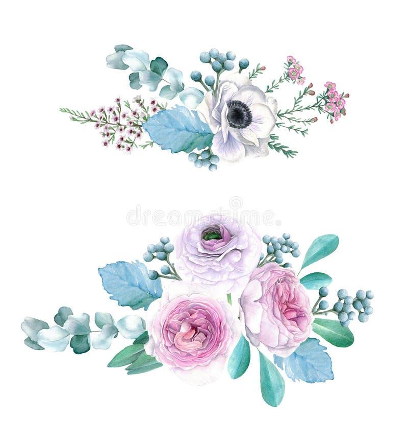 Mazzo disegnato a mano delle peonie, delle rose, di Anemonies, del ranunculus e dell'eucalyptus dell'acquerello illustrazione di stock