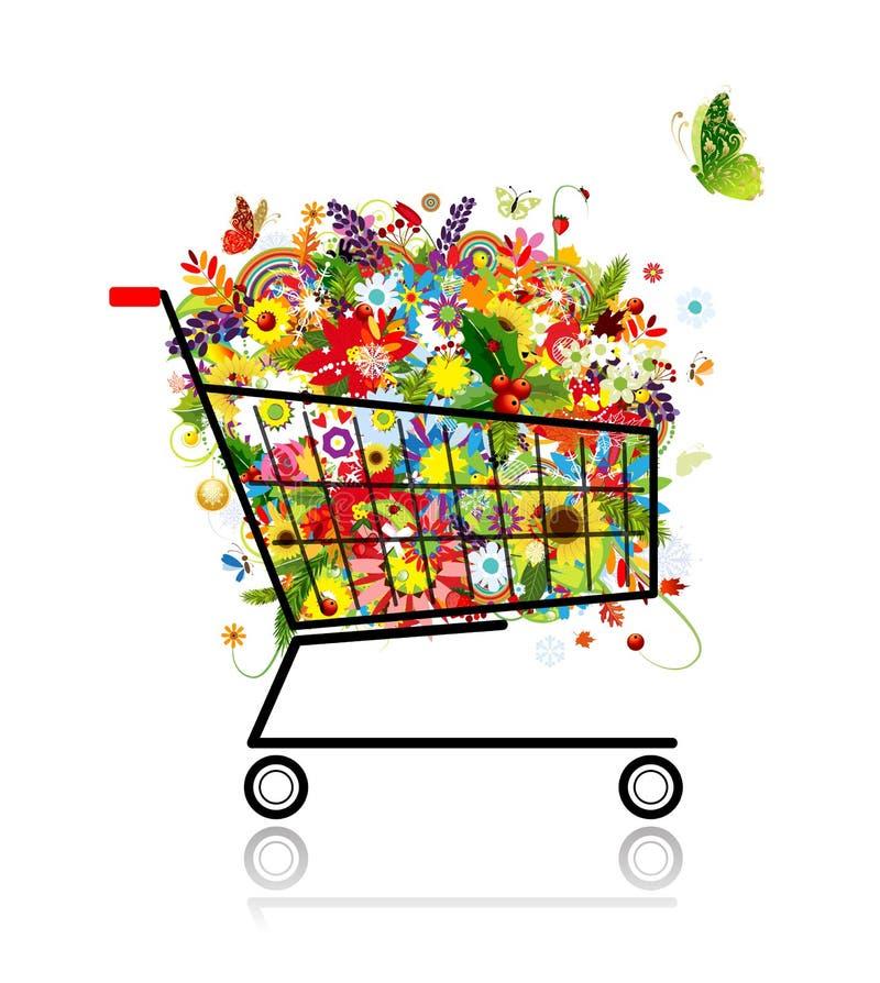Mazzo floreale in carrello di acquisto per il vostro disegno royalty illustrazione gratis