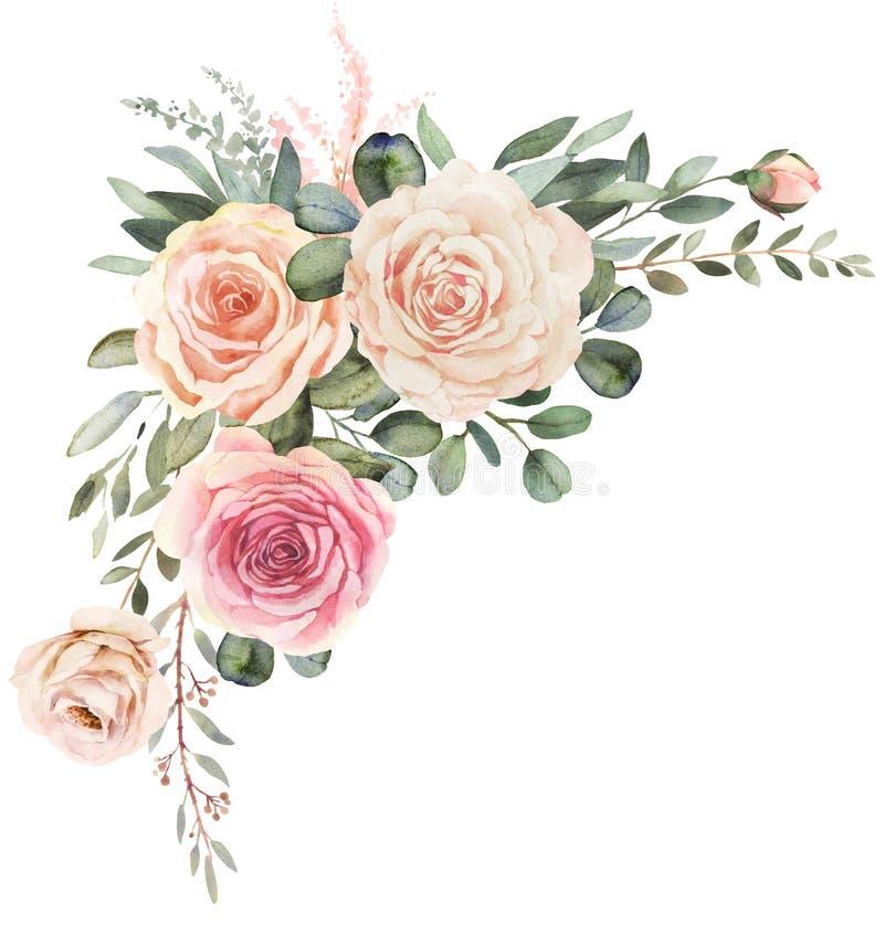 Mazzo floreale dell'acquerello con le rose e l'eucalyptus illustrazione di stock