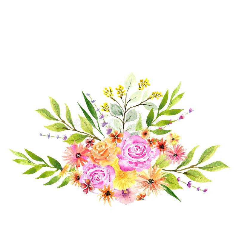 Mazzo floreale dell'acquerello nei colori vibranti fotografia stock