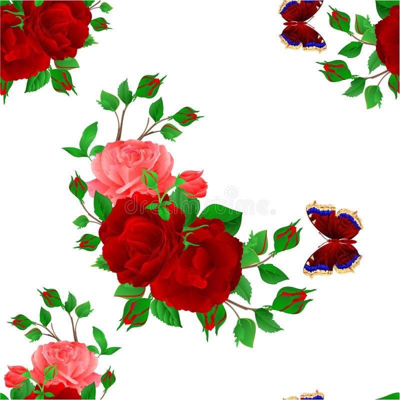 Mazzo floreale di struttura senza cuciture con le rose rosse e rosa e l'illustrazione festiva d'annata di vettore del fondo della illustrazione vettoriale