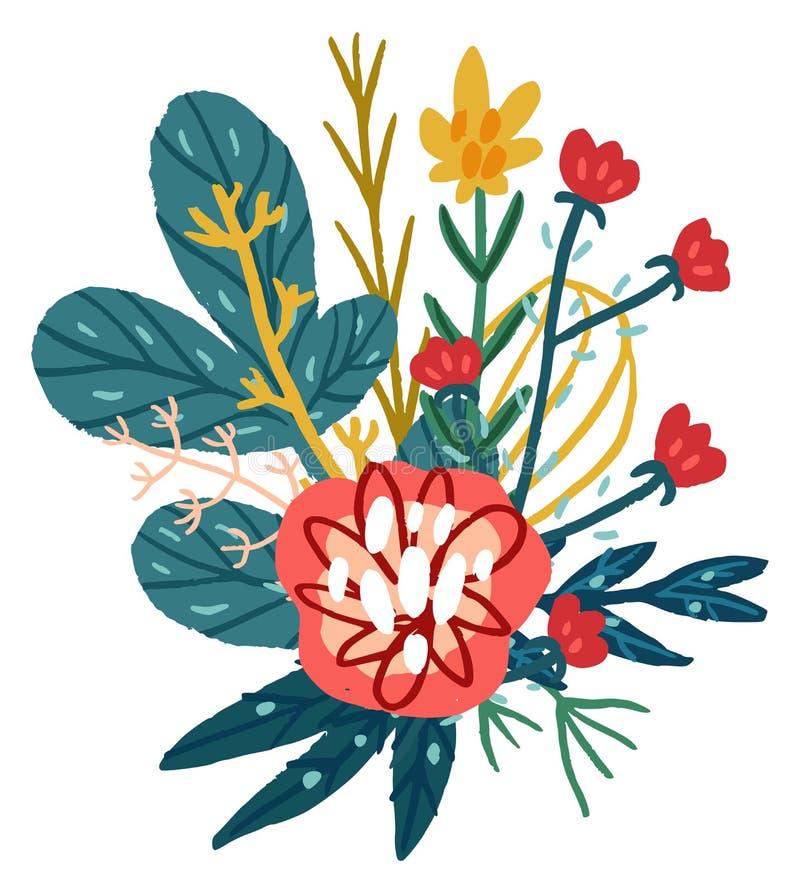 Mazzo floreale disegnato a mano di vettore illustrazione di stock