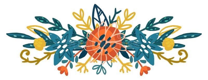 Mazzo floreale disegnato a mano di vettore royalty illustrazione gratis