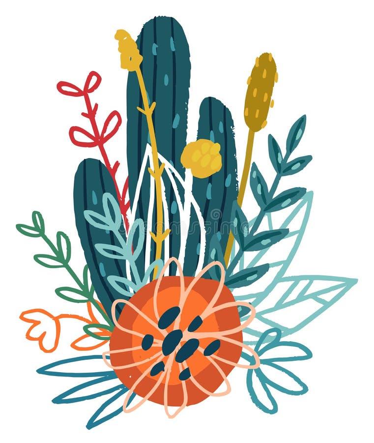 Mazzo floreale disegnato a mano di vettore illustrazione vettoriale