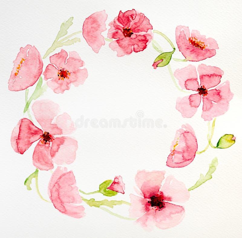 Mazzo a forma di cerchio del fiore dell'acquerello illustrazione vettoriale