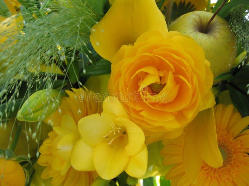 Mazzo giallo del fiore fotografie stock