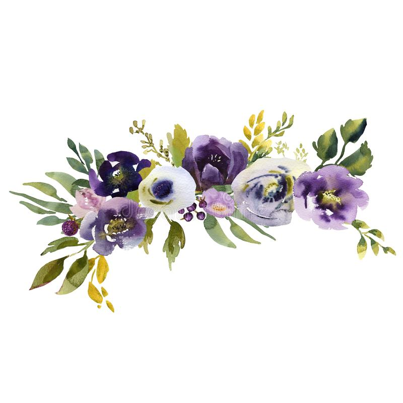 Mazzo nuziale Wedding ornamento verde blu e porpora dei fiori illustrazione di stock
