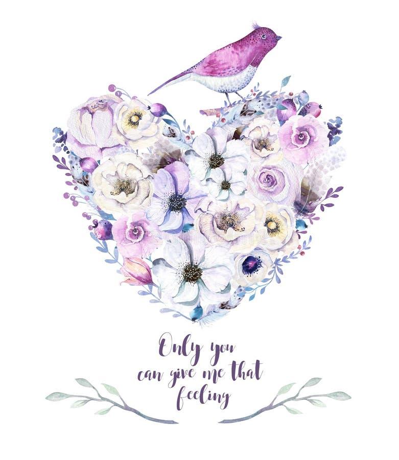 Mazzo piony floreale del cuore della rosa dell'annata dell'acquerello Molla di Boho illustrazione vettoriale
