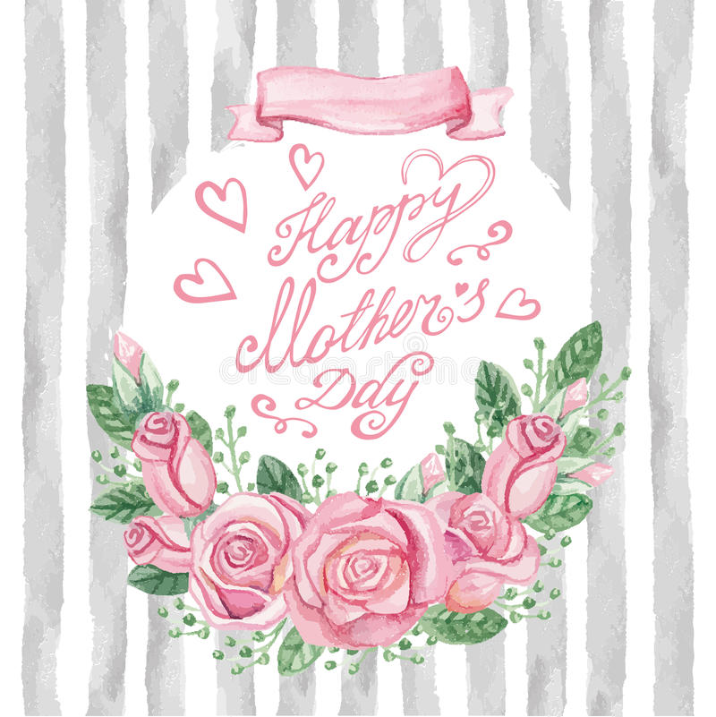 Mazzo rosa delle rose dell'acquerello, titolo, strisce Carta di giorno di madre illustrazione di stock