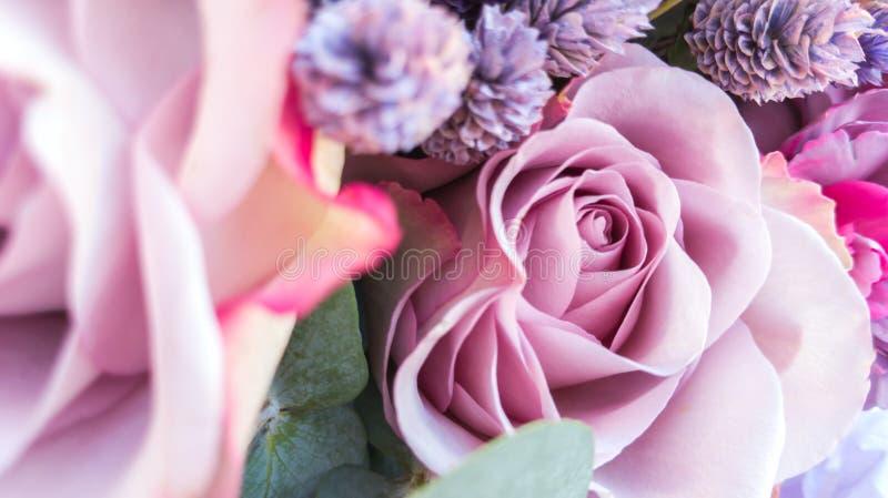 Mazzo splendido delle rose e dei garofani con i fiori secchi decorativi fotografia stock libera da diritti