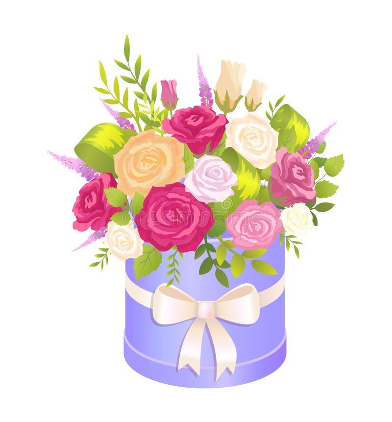 Mazzo sveglio in scatola ovale festiva con l'arco grazioso royalty illustrazione gratis