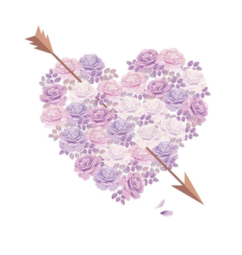 Mazzo tenero della rosa di rosa di colore nella forma del cuore illustrazione vettoriale