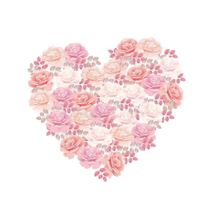 Mazzo tenero della rosa di rosa di colore nella forma del cuore illustrazione di stock