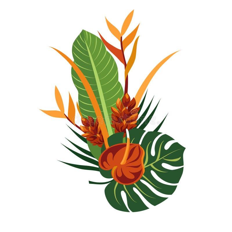 Mazzo tropicale Composizione floreale elegante in vettore Illustrazione variopinta del fumetto illustrazione di stock