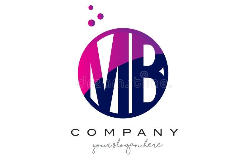 MB M B Circle Letter Logo Design com Dots Bubbles roxo ilustração royalty free