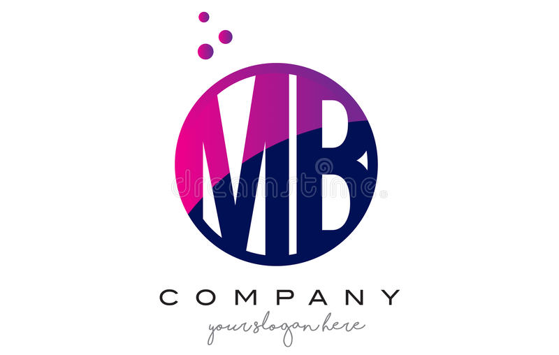 MB M B Circle Letter Logo Design with Purple Dots Bubbles royalty free illustration