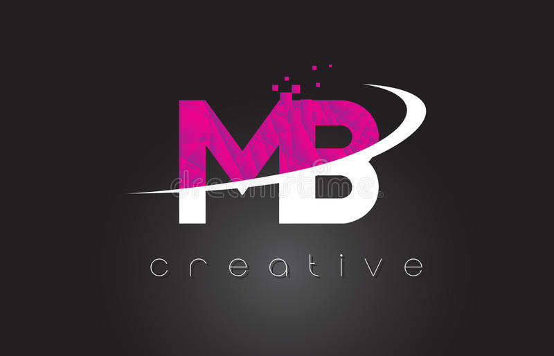 MB M B Creative Letters Design With White Pink Colors royalty free illustration
