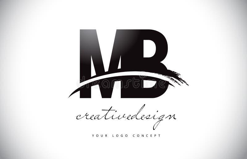 MB M B Letter Logo Design com Swoosh e curso preto da escova ilustração do vetor