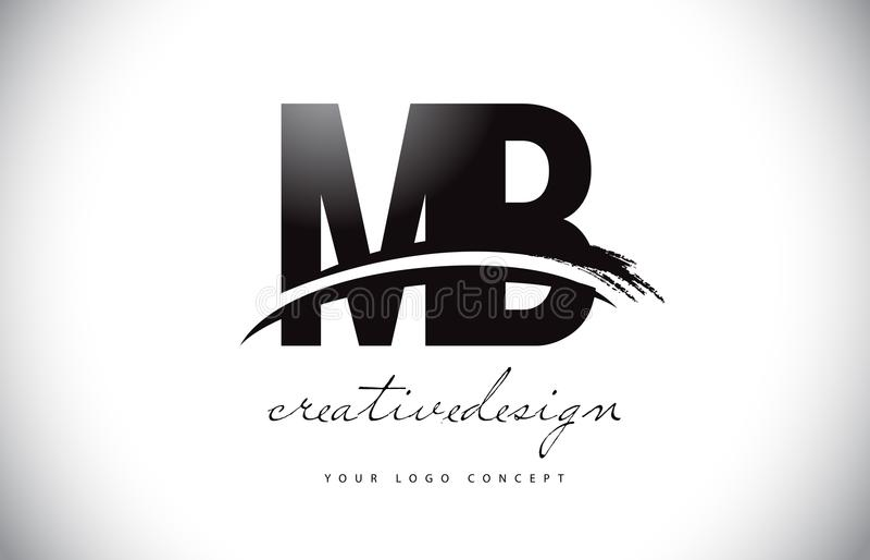 MB M B Letter Logo Design con Swoosh y movimiento negro del cepillo ilustración del vector