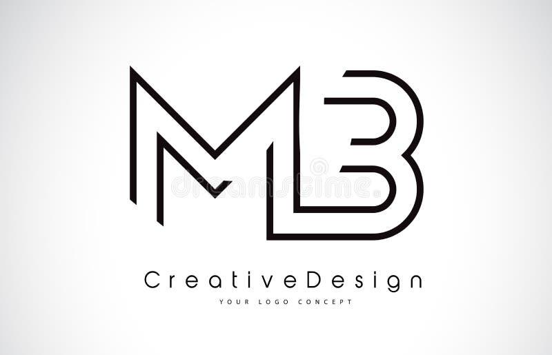MB M B Letter Logo Design i svarta färger royaltyfri illustrationer