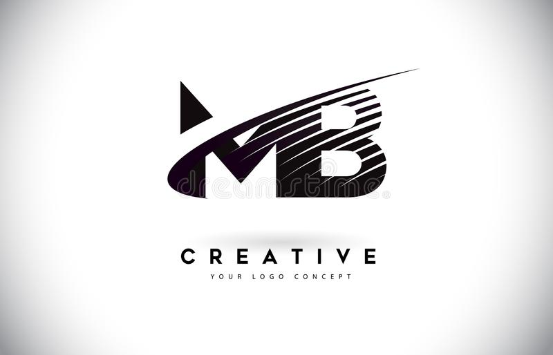 MB M B Letter Logo Design with Swoosh and Black Lines. royalty free illustration