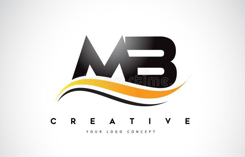 MB M B Swoosh Letter Logo Design with Modern Yellow Swoosh Curve vector illustration