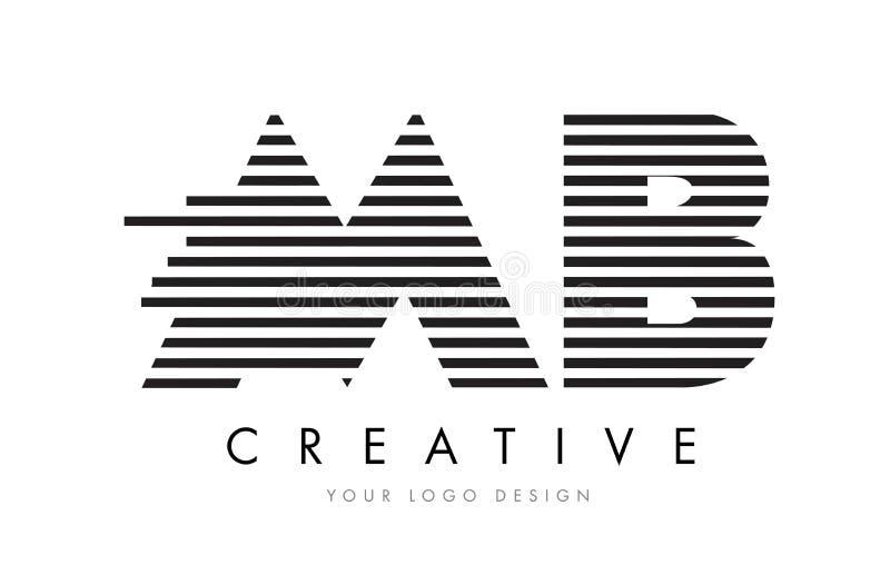 MB M B Zebra Letter Logo Design with Black and White Stripes royalty free illustration