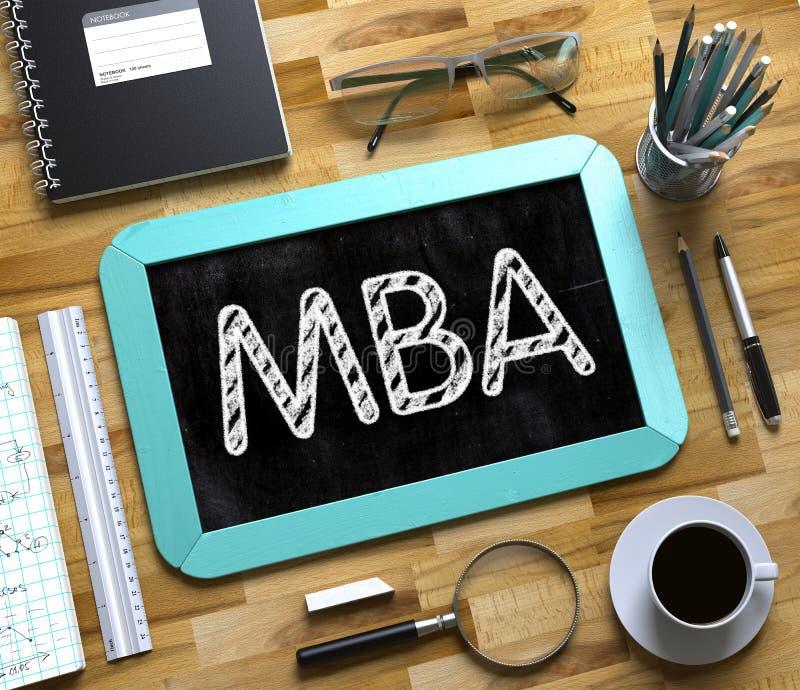MBA χειρόγραφο στο μικρό πίνακα κιμωλίας τρισδιάστατος στοκ φωτογραφία με δικαίωμα ελεύθερης χρήσης