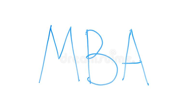 MBA abbreviation written on glass, master of business administration, degree stock images