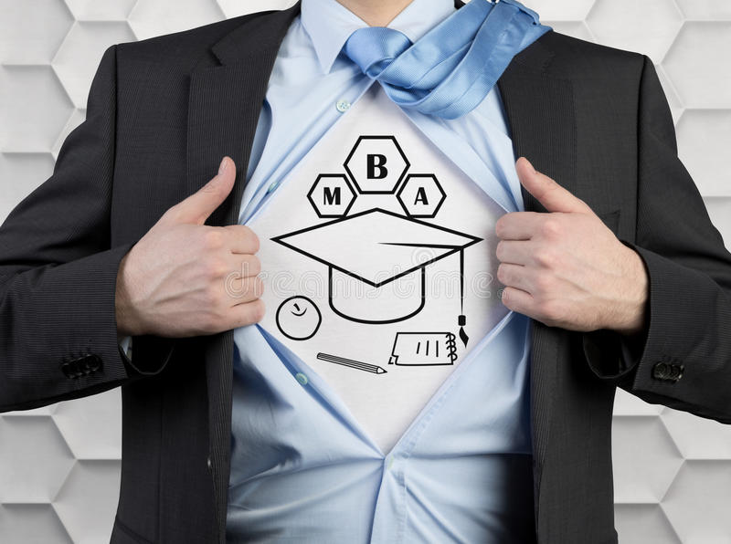 Mba concept. Businessman tearing his shirt with drawing mba concept stock images