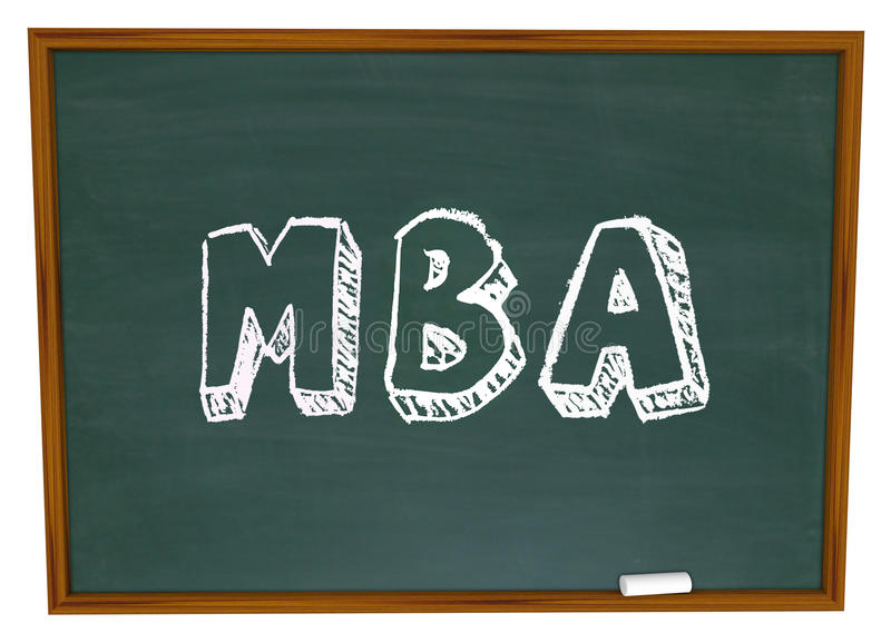 MBA domina el tablero de tiza del título universitario de la administración de empresas ilustración del vector