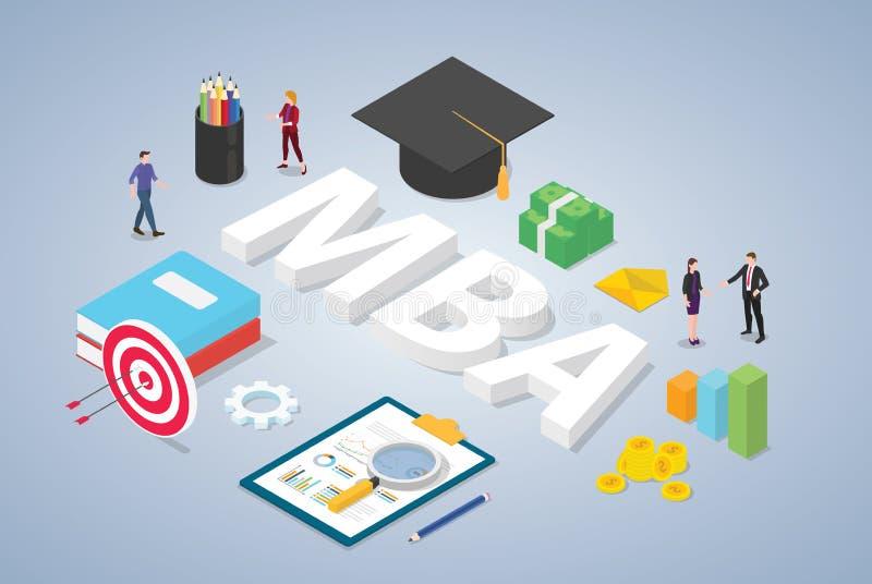 Mba-förlage av begreppet för affärsadministration med doktorand- universitethattutbildning och lagfolk med isometrisk modern stil royaltyfri illustrationer
