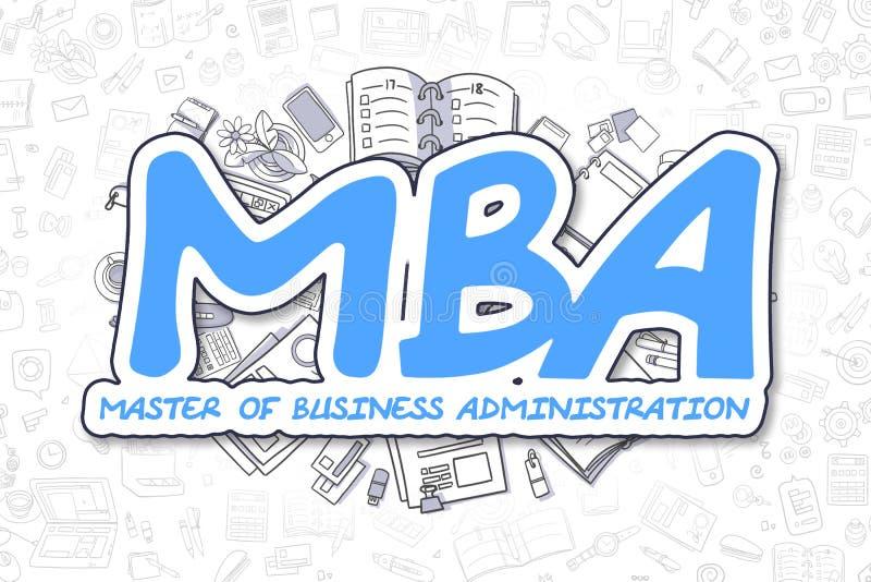MBA - Inscripción del azul del garabato Concepto del asunto stock de ilustración