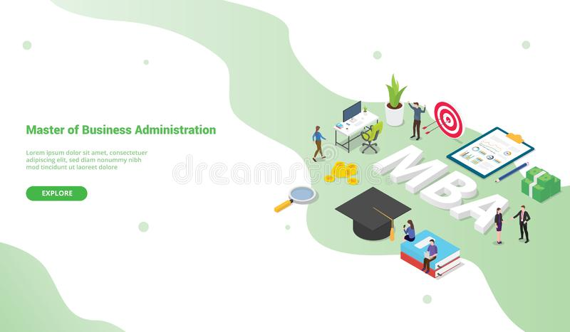 Mba master of business administration concept for website template or landing homepage with isometric modern style - vector stock illustration