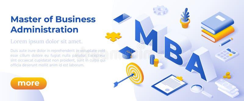 MBA - Master Of Business Administration Concetto Di Illustrazione Di Vettori Con Icone illustrazione di stock