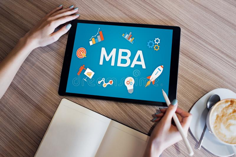 MBA Master Business Administration Education Learning Study E-learning PErsonal Growth and Career Development royaltyfria bilder