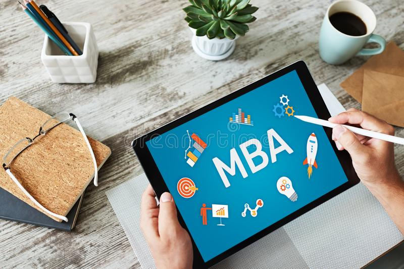 MBA Master Business Administration Education Learning Study E-learning PErsonal Growth and Career Development arkivbild