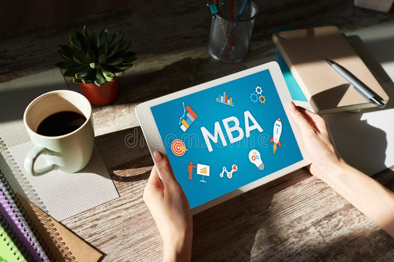 MBA Master Business Administration Education Learning Study E-learning PErsonal Growth and Career Development arkivbilder
