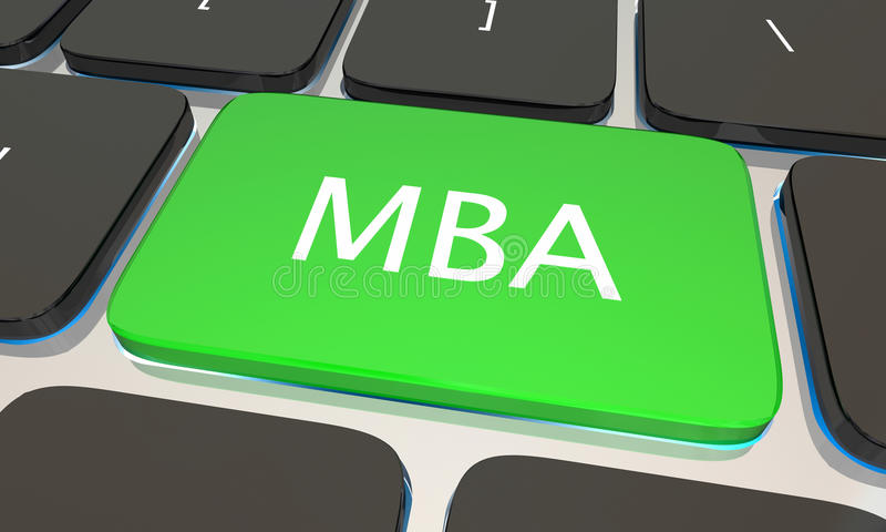 MBA Master Business Administration Online Degree Computer Key 3d Illustration royalty free illustration