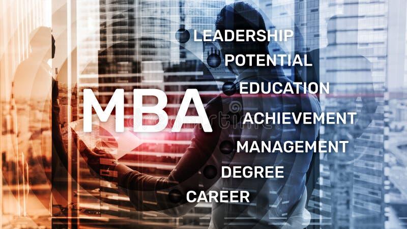 MBA - Master en administración de empresas, aprendizaje electrónico, educación y concepto personal del desarrollo ilustración del vector