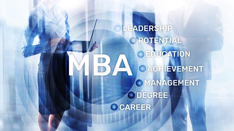 MBA - Master en administraci?n de empresas, aprendizaje electr?nico, educaci?n y concepto personal del desarrollo stock de ilustración