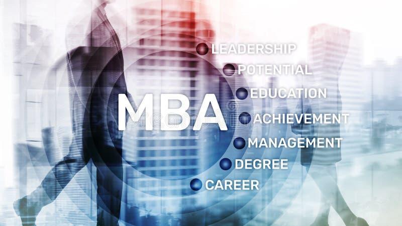 MBA - Master en administraci?n de empresas, aprendizaje electr?nico, educaci?n y concepto personal del desarrollo foto de archivo libre de regalías