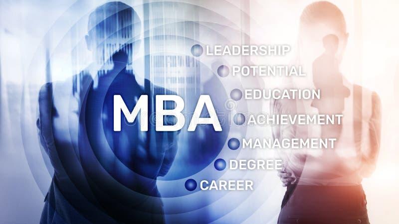 MBA - Master en administraci?n de empresas, aprendizaje electr?nico, educaci?n y concepto personal del desarrollo foto de archivo