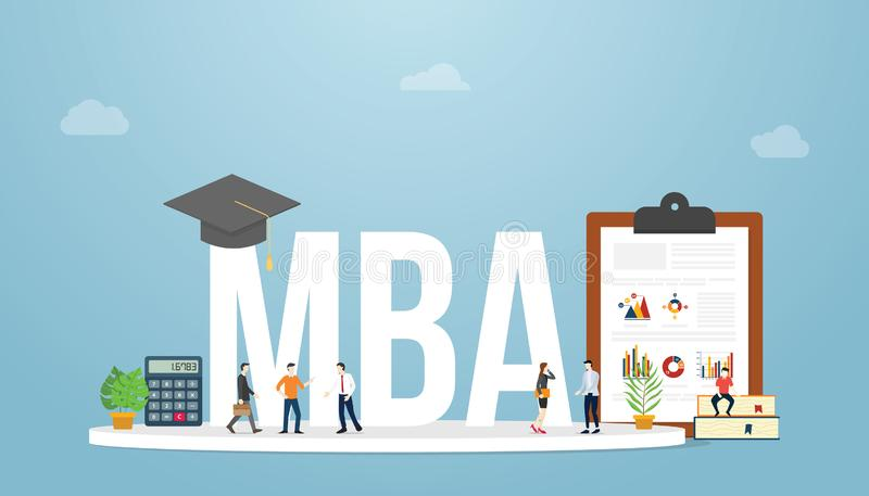 Mba mistrz zarządzania przedsiębiorstwem pojęcia edukacji biznesowy stopień z drużynowymi ludźmi z, wykres i mapa dla nowożytnego ilustracji