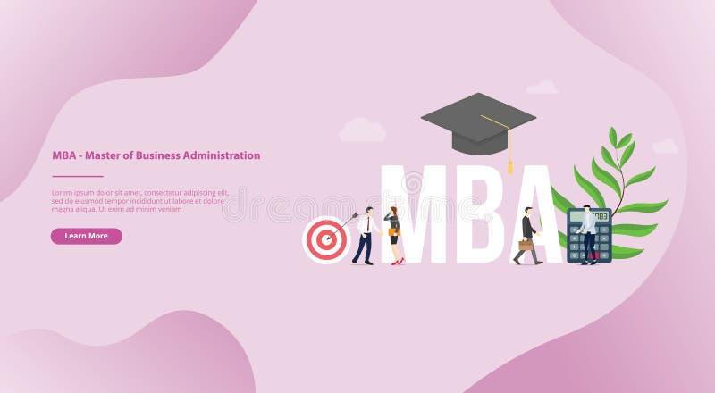 Mba mistrz zarządzania przedsiębiorstwem pojęcia edukacji biznesowy stopień z nowożytnym mieszkanie stylem dla strony internetowe royalty ilustracja