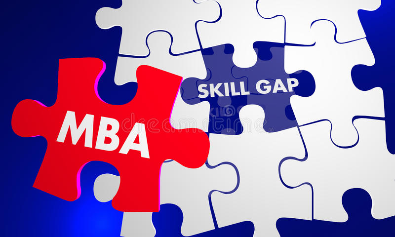 MBA mistrza zarządzania przedsiębiorstwem łamigłówki kawałka pełni umiejętność Gap 3 royalty ilustracja