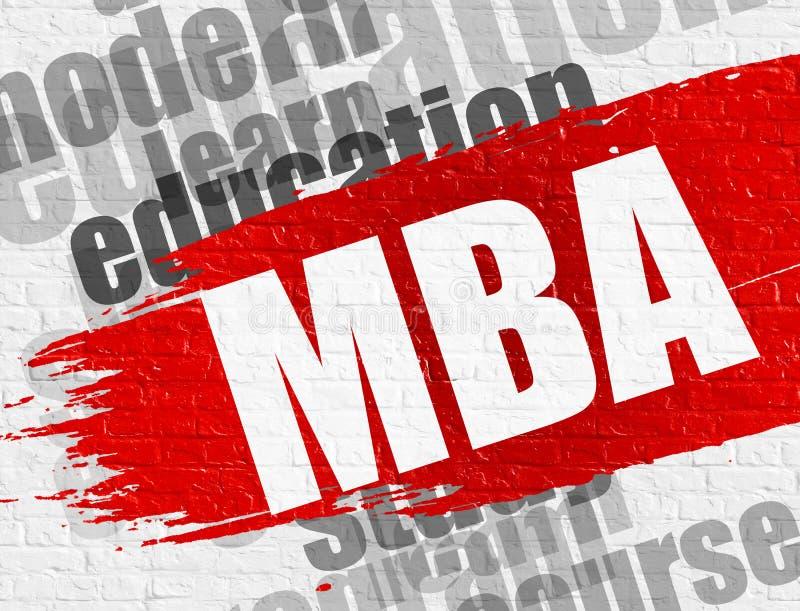 MBA på tegelstenväggen royaltyfri illustrationer