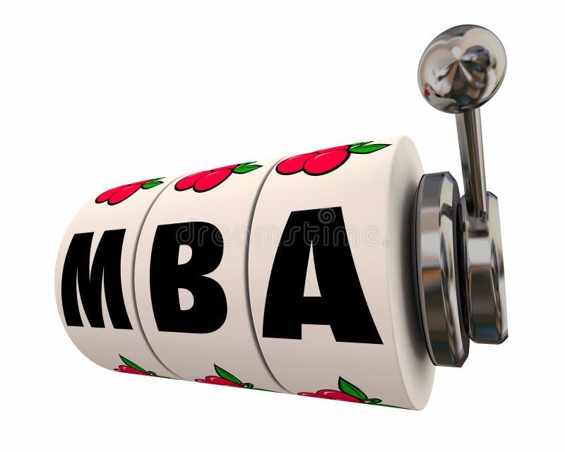 MBA styr enarmade banditen Weels 3d Illustr för affärsadministrationen stock illustrationer
