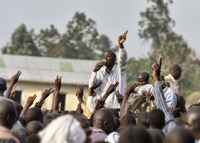 MBALE, Uganda - febbraio 2011: Campagna elettorale di FDC fotografia stock